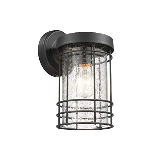 Chloe Lighting Jefferson 1 Light Outdoor Wall Sconce in Textured Black