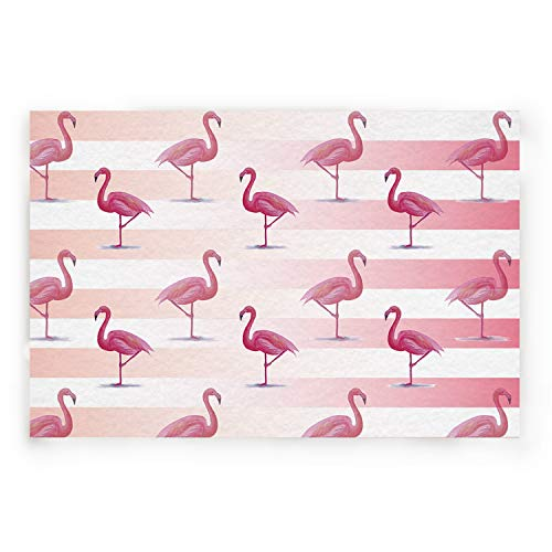 BABE MAPS Indoor Doormat Entrance Welcome Mat Absorbent Kitchen Rug Non Slip Shower Mat Funny Flamingo Pink and White Stripe Home Decor for Inside Shoe Scraper Floor Carpet 30