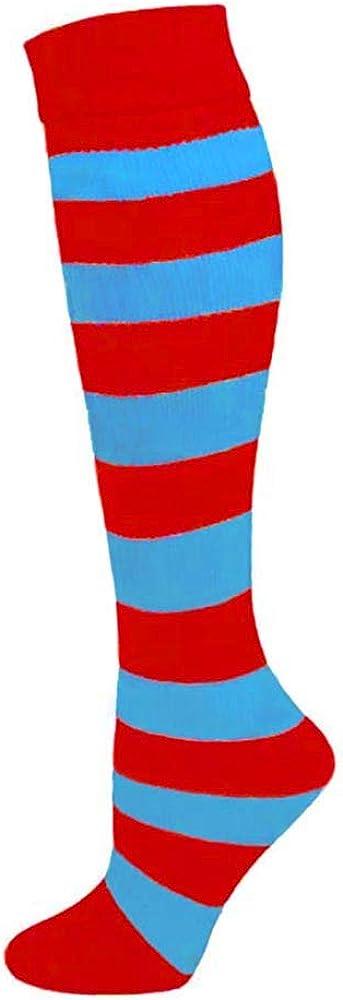 Adult Red/Blue Striped Knee Socks