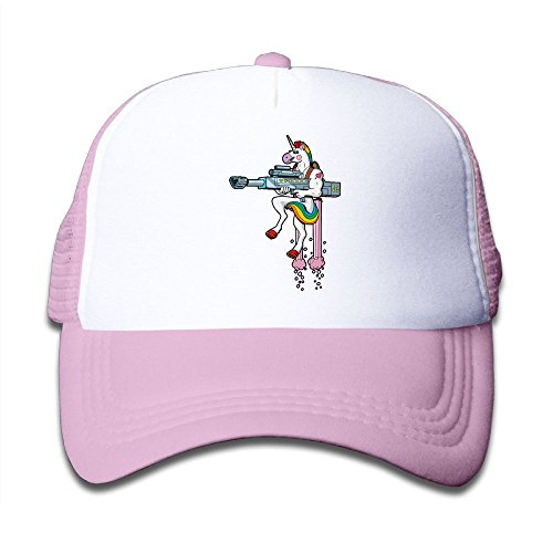 Unicorn Rainbow Gun Mesh Hat Trucker Style Outdoor Sports Baseball Cap With Adjustable Snapback Strap For Kid's Pink One Size
