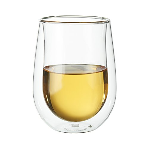 - ZWILLING J.A. Henckels 39500-212 Double-Wall Stemless White Wine Glass Set, 10 fl. oz,