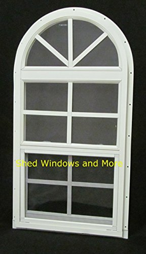 - Arched Shed Playhouse Windows 14 X 28 White J-Channel, Safety Glass Aluminum Frame