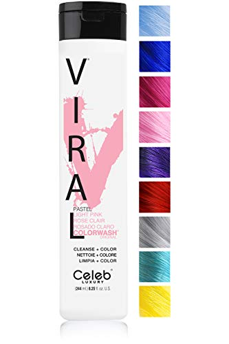(Celeb Luxury Viral Colorwash: Pastel Light Pink Color Depositing Shampoo, 10 Vivid and Pastel Colors, stops Fade, 1 Quick Wash, Cleanse + Color, Sulfate-Free, Cruelty-Free, 100% Vegan)