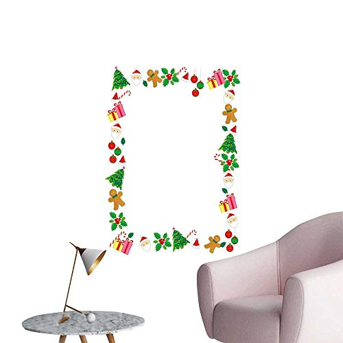 Alexandear Kids Christmas Stickers Wall Murals Decals Removable Colorful Border with Different Clip Arts Holiday Festivity Santa Trees Balls Elevator Stairs Wall Multicolor W32 x H48]()