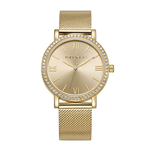 Ladies Stainless Steel Mesh - TREEWETO Women's Analog Quartz Gold Golden Wrist Watch with Stainless Steel Mesh Strap Ladies Watches Roman Numerals Dial Elegant