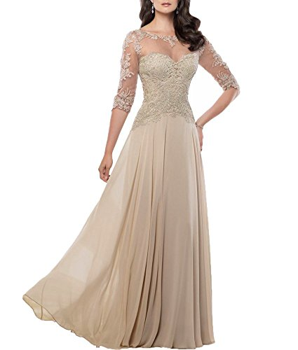 Fanmu Mother's Lace Half Sleeve Mother of Bride Dress Prom Gowns Champagne US 12