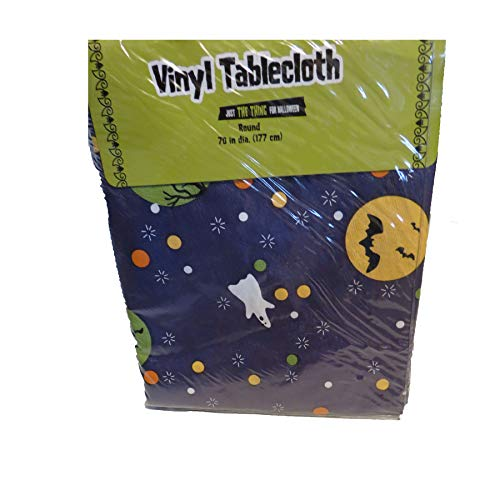 target Purple Halloween Ghost Witch Vinyl Table Cloth Round -