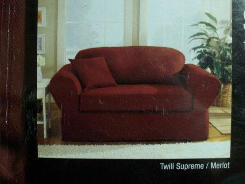 (SureFit Twill Supreme 2 Piece Sofa Slipcover, Merlot)