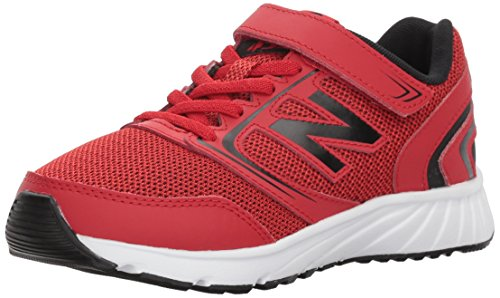 New Balance Boys' 455v1 Hook and Loop Running Shoe, Team Red/Black, 4.5 M US Big Kid