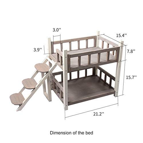 ROCKEVER Wooden Pet Bunk Bed Indoor,Dog Bed Small for Two Pets Grey