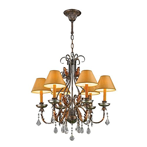 Worldwide Lighting Milan Collection 6 Light Antique Bronze Finish with Orange Gold Candle and Shade Chandelier 28