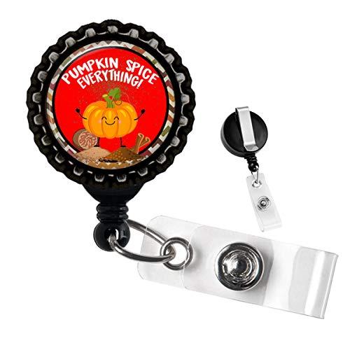 Pumpkin Spice Everything Badge Reel Black ID Tag Holder by Geek Badges ()