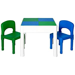Play Platoon Kids Activity Table Set – 3 in 1 Water Table, Craft Table and Building Brick Table with Storage – Includes 2 Chairs and 25 Jumbo Bricks – Blue & Green or All Primary Colors