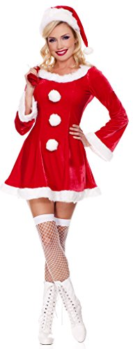 Fedo Design Women's Long Sleeve Novelties Sweet Miss Santa Baby Suit Set Dress Christmas Deluxe Adult 0301