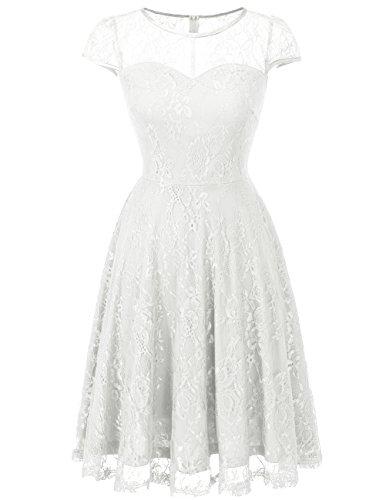 Vintage reg; Dresstells Boda Corto Encaje Casual Madrina Manga Vestido Fiesta Corta White Mujer REWqZqd
