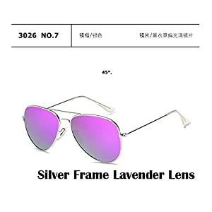 2017 Fashion sunglasses Men women Large frame Anti-glare aviator aviation sunglasses driving UV400, Silver Frame Lavender Lens.