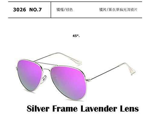 2017 Fashion sunglasses Men women Large frame Anti-glare aviator aviation sunglasses driving UV400, Silver Frame Lavender - Ray Ban Face Small