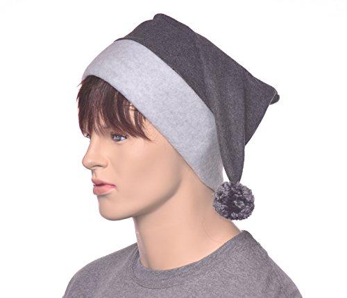 Gray Stocking Cap with Pompom Made of Fleece