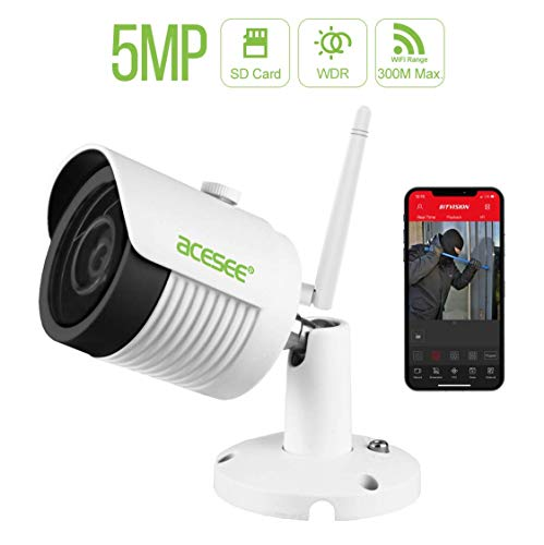 5MP WiFi IP Bullet Security Camera, Metal Housing Waterproof Outdoor/Indoor Security Camera, Night Vision, Motion Detection, Remote Access, Home Surveillance Camera with Cloud Storage