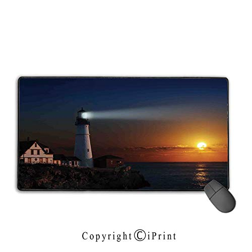 (Extended Mousepad with Durable Stitched Edges,Lighthouse Decor,Portland House at Dawn Rocks Houses Fences Lamp Image Navigation, Non-Slip Rubber Base,9.8