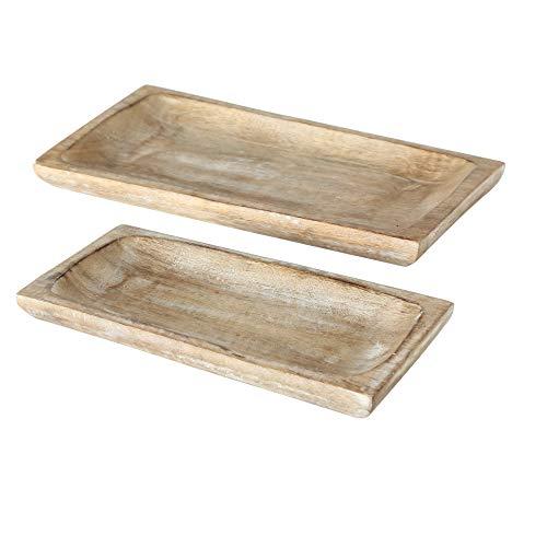 WHW Whole House Worlds Stockbridge Handcrafted Sustainable Mango Wood Trays, Set of 2