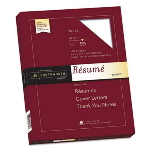 100% Cotton Resume Paper, 32lb, 95 Bright, 8 1/2 x 11, White, 100 Sheets (Southworth Resume Paper Linen)