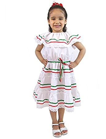 Girls Mexican Dress 3 Ribbons White