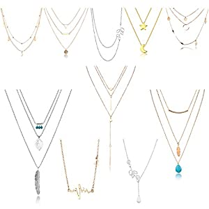 10/12 PCS Multiple DIY Layered Choker Necklace Pack for Teens – Gold Y Pendant Necklace for Women – Gold Silver Chokers…
