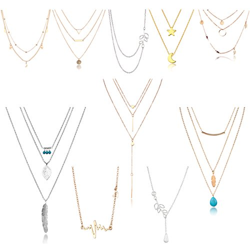 - HYZ Boho 10pcs Layered Necklace Pendant Moon Star Turquoise Feather Olive Leaf Heartbeat Coin Chain Girls Women Mother Jewelry Set