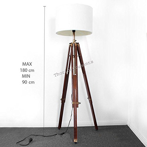 - Antique Brass Finish Stand Brown Wooden Tripod Shade Lamp Authentic Model