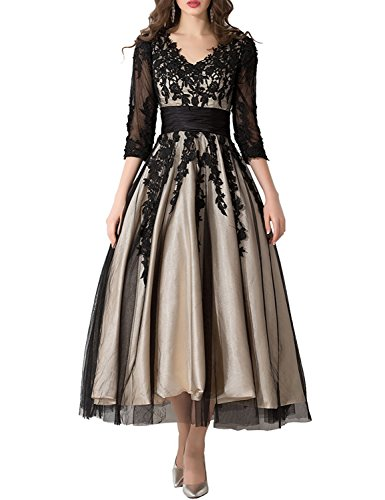 Tea Length Party Dresses Plus Size Prom Dress 2019 Manual Appliqued Empire Waist Pleated Tulle V Neck Party Gowns Work Dresses for Women Lomg Sleeves Formal Gown YW38 Black Custom Size