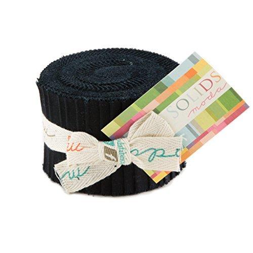 - Bella Solids Black Junior Jelly Roll 20 2.5-inch Strips Moda Fabrics 9900JJR 99