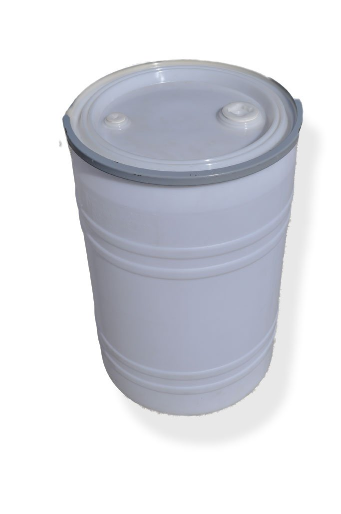 New 30 Gal Plastic Drum Open Top, White, Lid Has Fittings with Bolt Ring Lock
