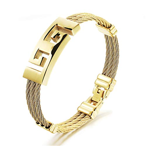 Sporty Fret Design Cable Layered Bracelets Steel Wire Woven String Palindrome Stainless Steel Hand Strap for ()