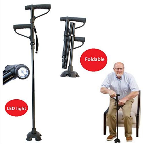 Maple_Leaf Aviation Aluminum Cane and Rubber Ring Double Handle Four-Legged Cane Arthritis Elderly Disabled Walking Aids, Stable and Supportable Adjustable Walking Stick