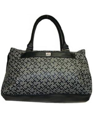 Women's Satchel Style Handbag, Black Alpaca