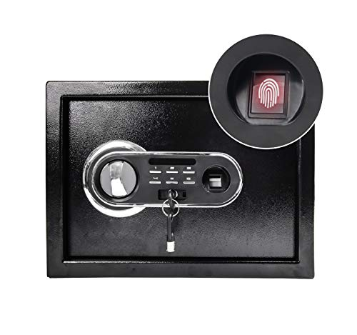 HOEE Fingerprint Safe Box Home Office Document Electronic Lock Security Box Solid Steel Hotel Business Small Money Hidden Black