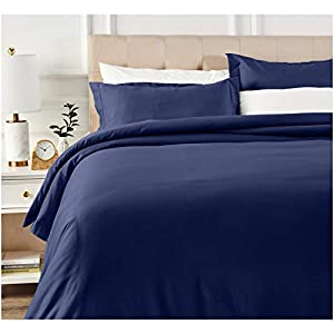 AmazonBasics 400 Thread Count Cotton Duvet Cover Set with Sateen Finish - Full/Queen, Navy