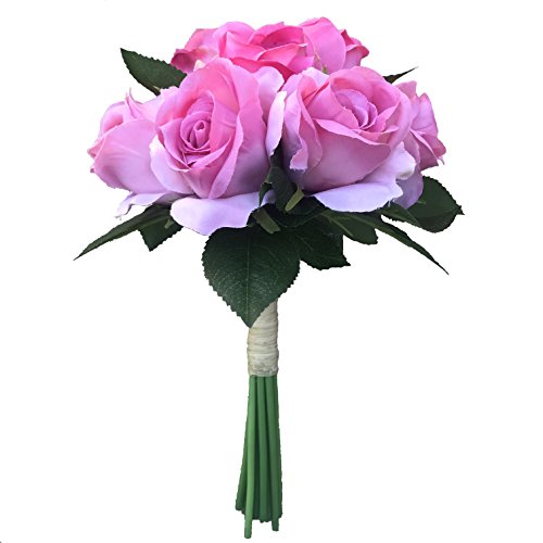 BELLAUSA 11 Heads Hot Pink Rose Bride and groom Holding flowers,Rosebud bouquet of 11 flower stems,Artificial Silk Flowers Fake Rose,For Wedding,Party,Valentine's Day, Pack 1 (Hot Pink (Hot Pink Rose Bouquet)