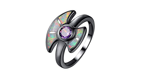 F/&F-Stars Romantic Charming White Fire Opal Rings Fashion Jewelry for Women Wedding Engagement Rings