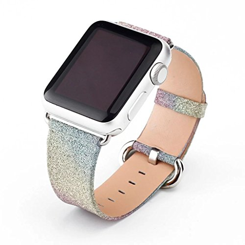 WonderKathy Shiny Rainbow Sparkle Compatible for Apple Watch Band Bling Light Watch Bands with Metal Clasp Strap for Women for iWatch Series 3, 2, 1 All Version (Rainbow, 38mm) by WonderKathy