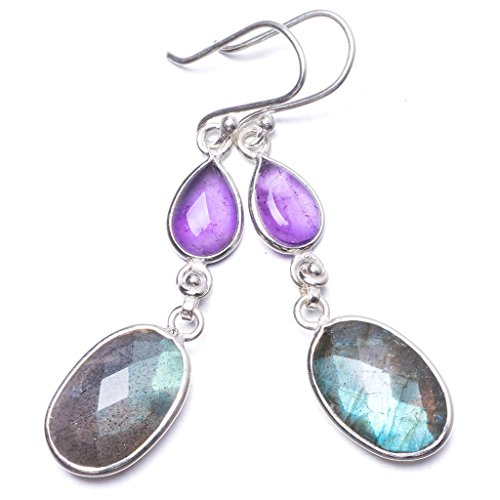 Natural Blue Fire Labradorite and Amethyst Handmade Unique 925 Sterling Silver Earrings 2