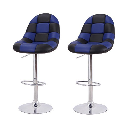 Adeco Black & Blue Pattern Cushioned Leatherette Adjustable Barstool Chair Chrome Finish Pedestal Base, Blue Black