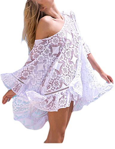 Ailunsnika Sexy White Lace Ruffled Short Beachwear Dress O Neck Half Sleeve Backless Hollow Out Swimsuit Cover Up (Half Sleeve Dresses Neck)
