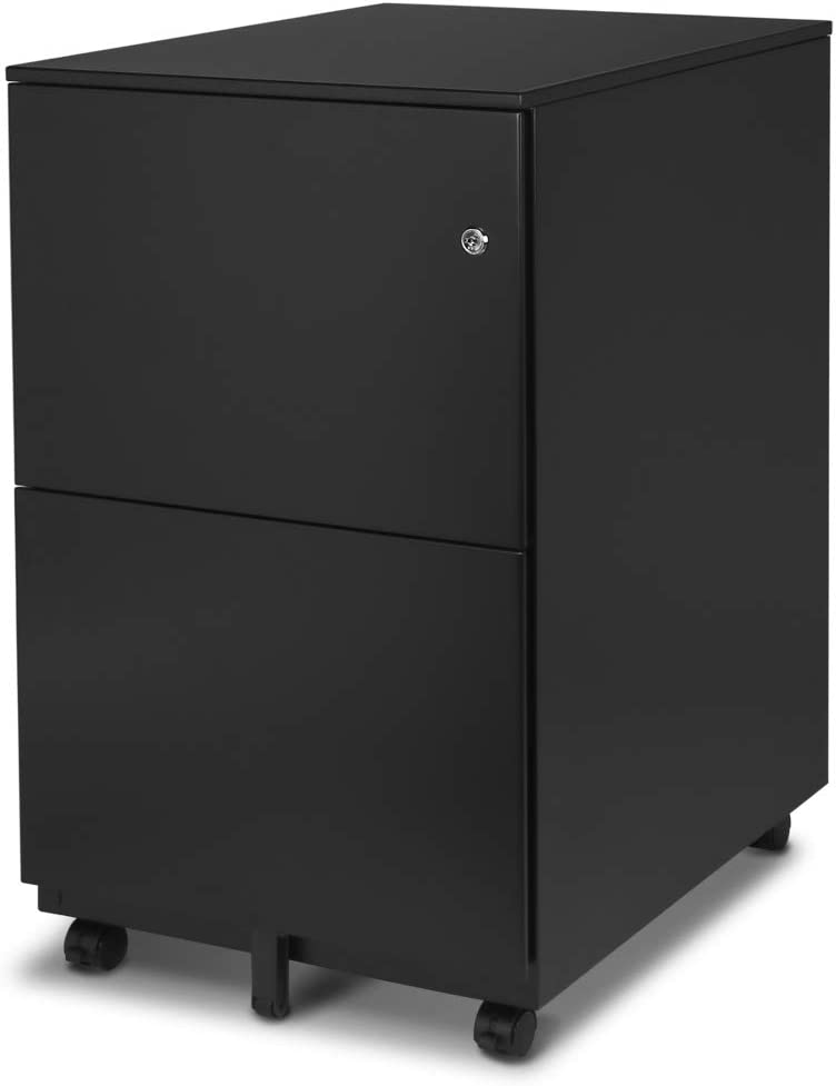 Aurora FC-102BK Modern Soho Design 2-Drawer Metal Mobile File Cabinet with Lock Key/Fully Assembled, Black