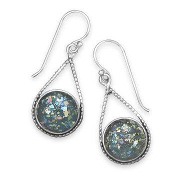 Glass Sterling Chain Roman Silver (Roman Glass Drop Earrings)
