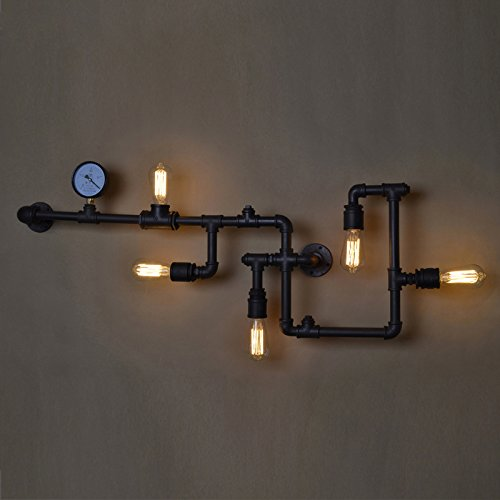 LightInTheBox Loft Industrial Wall Lamps Antique Edison Wall lights with Bulbs E26/E27 Vintage Pipe Wall Lamp for Living Room Lighting (Black) by LightInTheBox