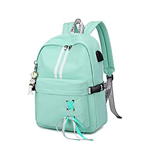 Silver Tulip Laptop Backpack College Shoulders Bags Children School Book Bags Girls Travel Canvas Backpack (Green, Large…