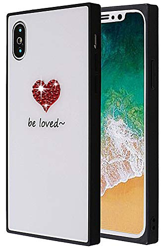 (Square iPhone X Case, Chic Tempered Glass Case Retro Classic Stylish Cover Square Shockproof Protective Back Case For iPhone X/iPhone 10 (Crystal Be Loved))