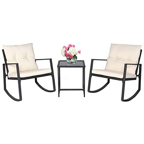 SUNCROWN Outdoor Patio Furniture 3-Piece Bistro Set Black Wicker Rocking Chair – Two Chairs with Glass Coffee Table (Beige Cushion)